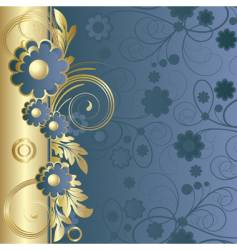 dark blue background with flowers vector image