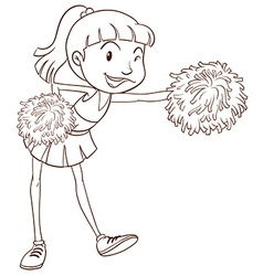 A plain sketch of a cheerer with pompoms vector