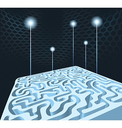 3D maze with rockets vector image
