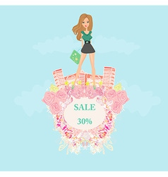 Fashion girl shopping - shopping sale frame vector