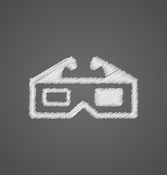 3d movie sketch logo doodle icon vector