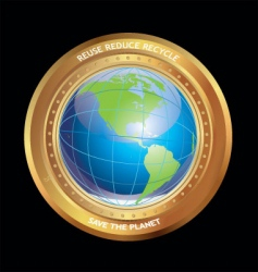 Earth in golden medallion vector