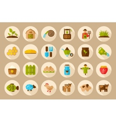 Farm garden flat icon with long shadow vector