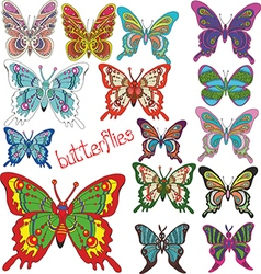 A large set of colored butterflies vector