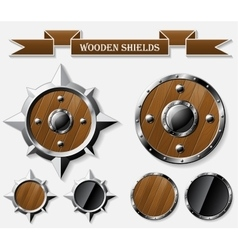Set of realistic wooden shields isolated on grey vector