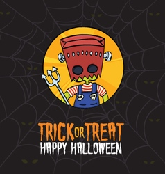 Halloween trick or treat frankenstein costume vector