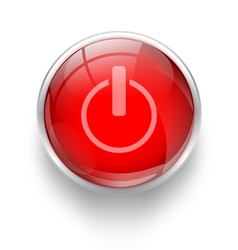 Power off icon red button vector