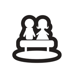 Flat icon in black and white boy girl bench vector image