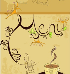 template for menu with a cup of coffee vector image