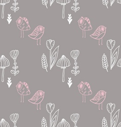 Pattern with mushroom tulips and cute birds vector