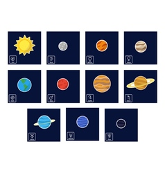 Icon set with planets and astrology symbols vector