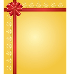 Yellow card with red ribbon vector
