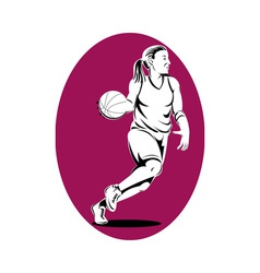 basketball player dribbling ball vector image