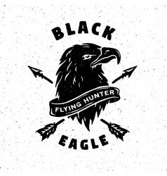 Black eagle hand drawn emblem vector