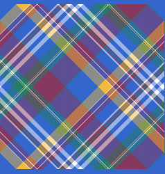 Blue check diagonal plaid tartan seamless fabric vector