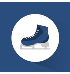 blue ice skate winter sport icon vector image