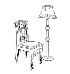 Cartoon image of lamp and old chair vector