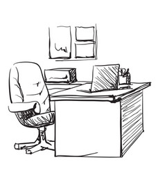 desk with a computer or workplace in office drawn vector image