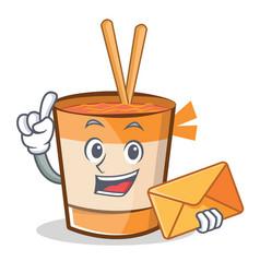 Finger cup noodles character cartoon vector