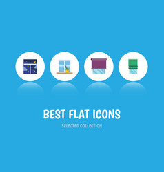 Flat icon glass set of frame glazing balcony and vector