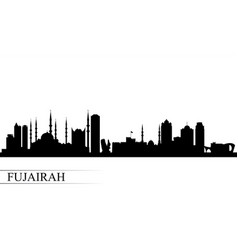 fujairah city skyline silhouette background vector image