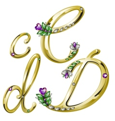 Gold alphabet with diamonds and gems letters CD vector image vector image