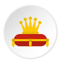 Gold crown on red pillow icon circle vector