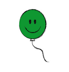 Green cartoon balloon smile decoration vector