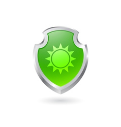 Green shield with the sun vector image