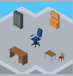 Isometric furniture set of sideboard table chair vector