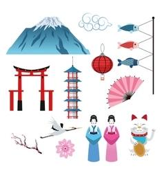 Japan culture set design vector