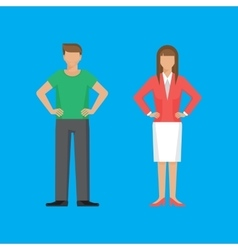 Man and woman are standing holding arms akimbo vector image vector image