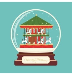 Merry christmas glass ball with carousel horses vector image
