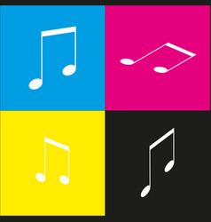 Music sign white icon with vector