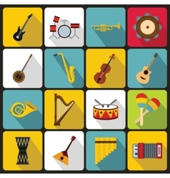 Musical instruments icons flat style vector image