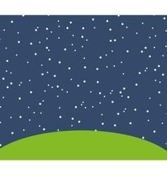 Night starry landscape icon vector
