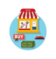 Online shop icon flat sale and buy vector