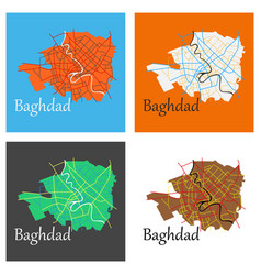 Set of baghdad city map - iraq flat isolated on vector