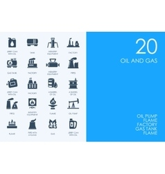 Set of BLUE HAMSTER Library oil and gas icons vector image