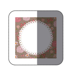 sticker decorative frame with pattern roses and vector image