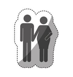 Sticker monochrome silhouette pictogram woman vector