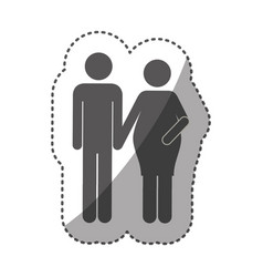 sticker monochrome silhouette pictogram woman vector image vector image