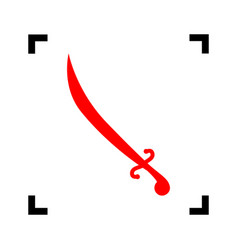 sword sign red icon inside vector image vector image