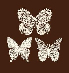 Tattoo doodle henna butterflies vector