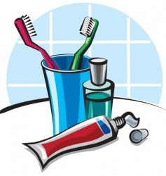 toothpaste and toothbrush vector image vector image