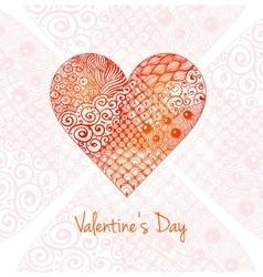 Valentines day card with big zentagle heart vector