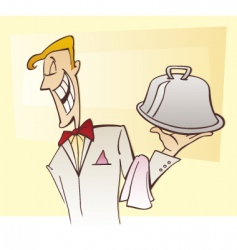 Waiter serving specialty dish vector