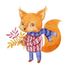 watercolor style squirrel vector image vector image