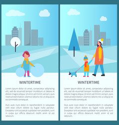wintertime park activities vector image vector image