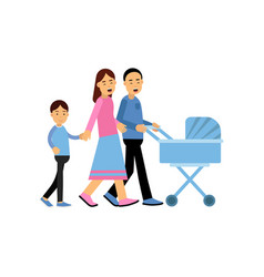 young parents walking with their son and newborn vector image